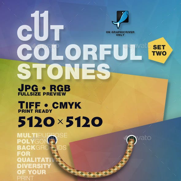 New 11 Cut Colorful Stones Backgrounds — CMYK RGB