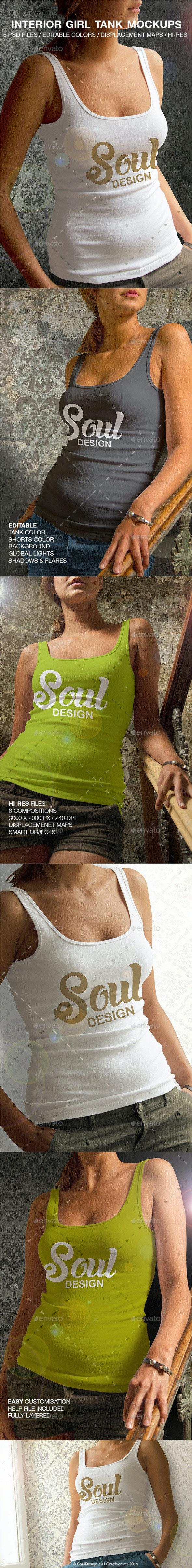 6 Interior Girl Tank Mockups - Apparel Product Mock-Ups