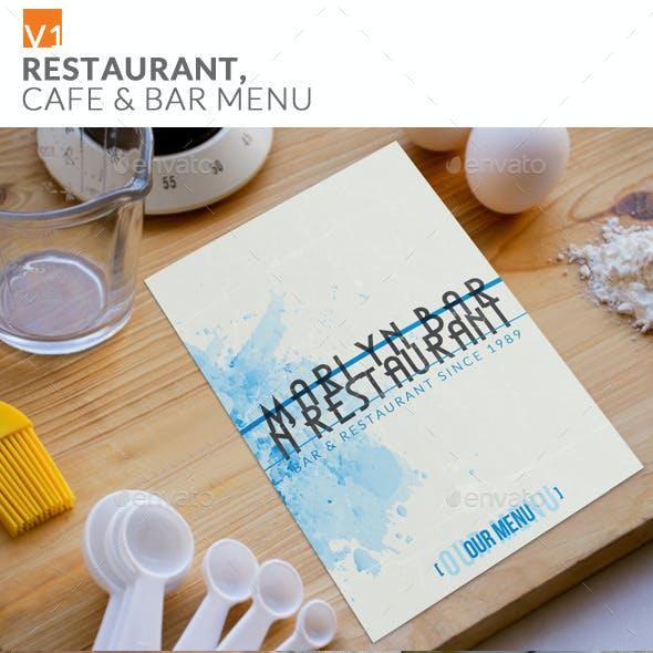 Restaurant Cafe & Bar Menu