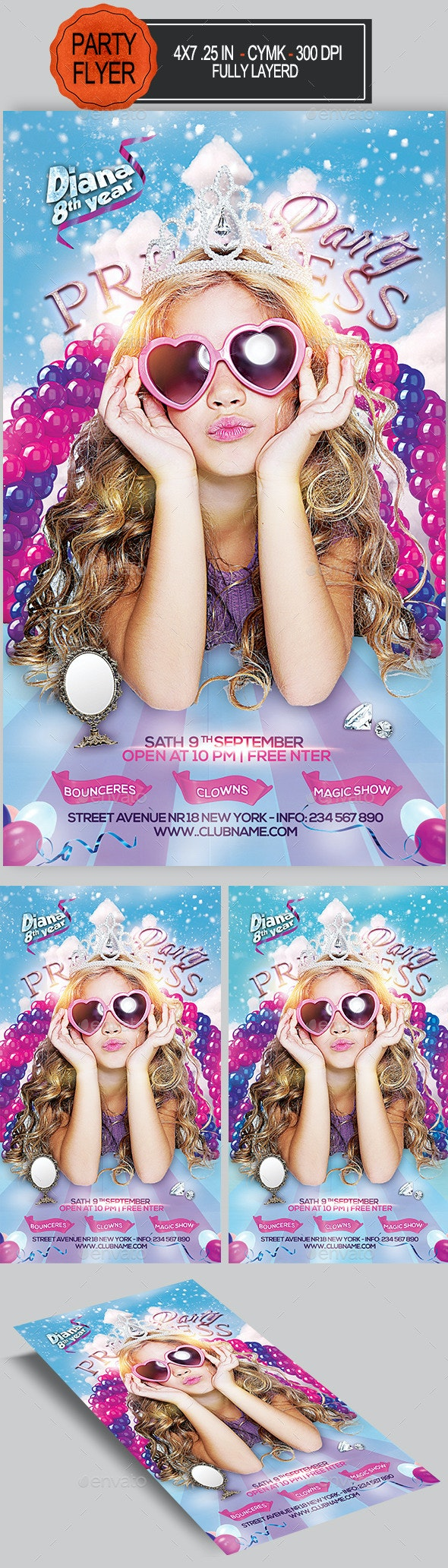 Princess Birthday Party Flyer - Clubs & Parties Events
