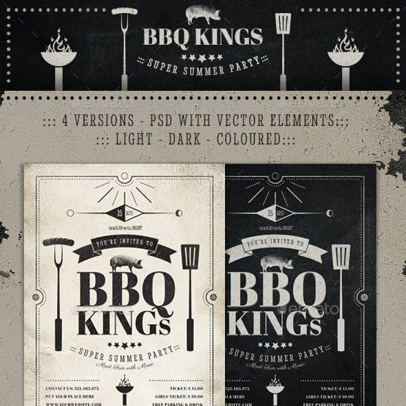 BBQ Kings - Vintage Barbecue Flyer