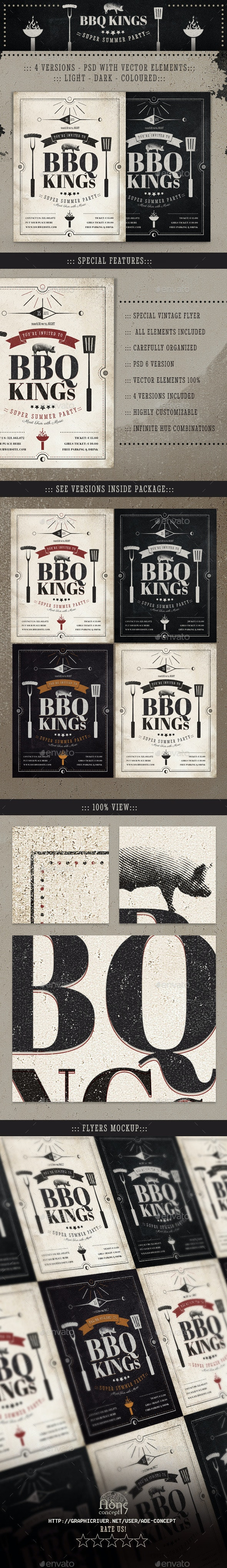 BBQ Kings - Vintage Barbecue Flyer - Events Flyers