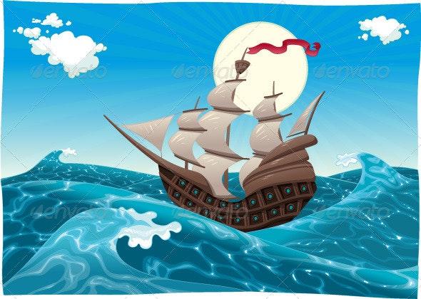 Galleon in the Sea  - Landscapes Nature