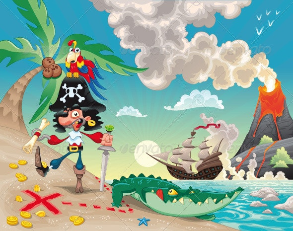 Pirate on the Island. - Characters Vectors