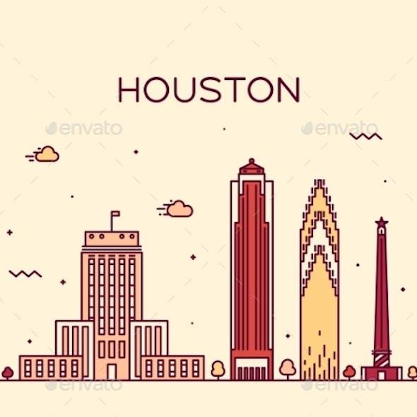 Houston Skyline Trendy Vector Illustration Linear