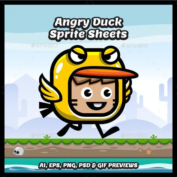 Angry Duck Mascot Game Character Sprites