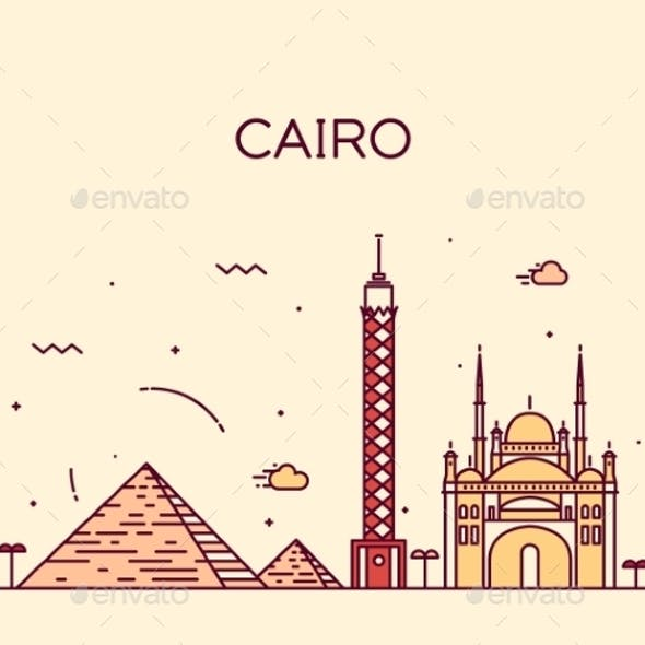 Cairo Skyline Trendy Vector Illustration Linear