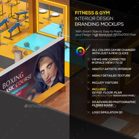 Fitness & Gym Interior Design  Branding Mockups