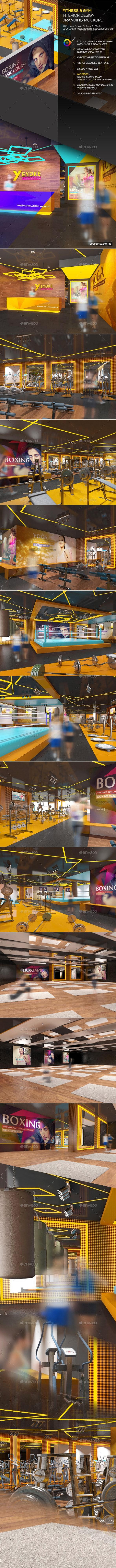 Fitness & Gym Interior Design  Branding Mockups - Logo Product Mock-Ups