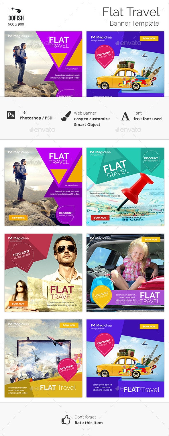 Flat Travel banner - Banners & Ads Web Elements