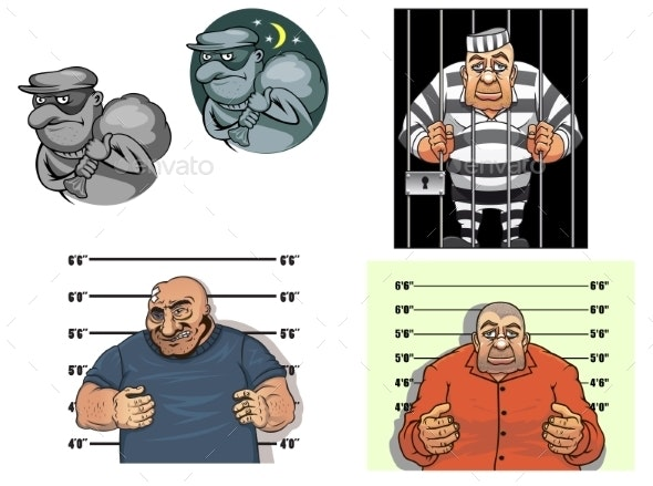 Cartoon Thief, Robber, Gangster And Prisoner - People Characters