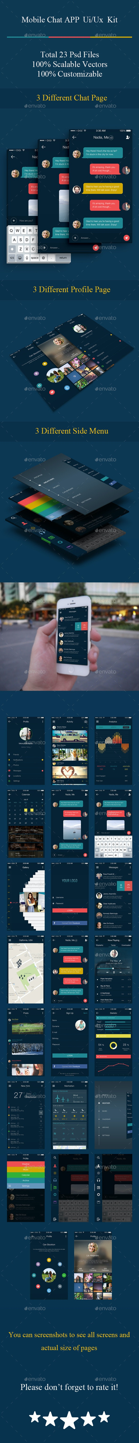 Mobile Chat Application Ui Ux Kit - User Interfaces Web Elements