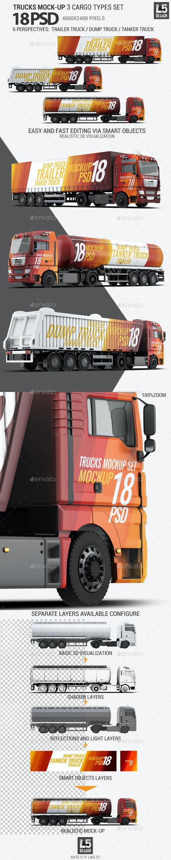 Trucks Mock-up 3 Cargo Types Set - Vehicle Wraps Print