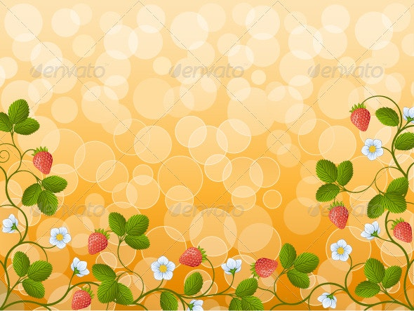 Floral background with a strawberry - Flowers & Plants Nature