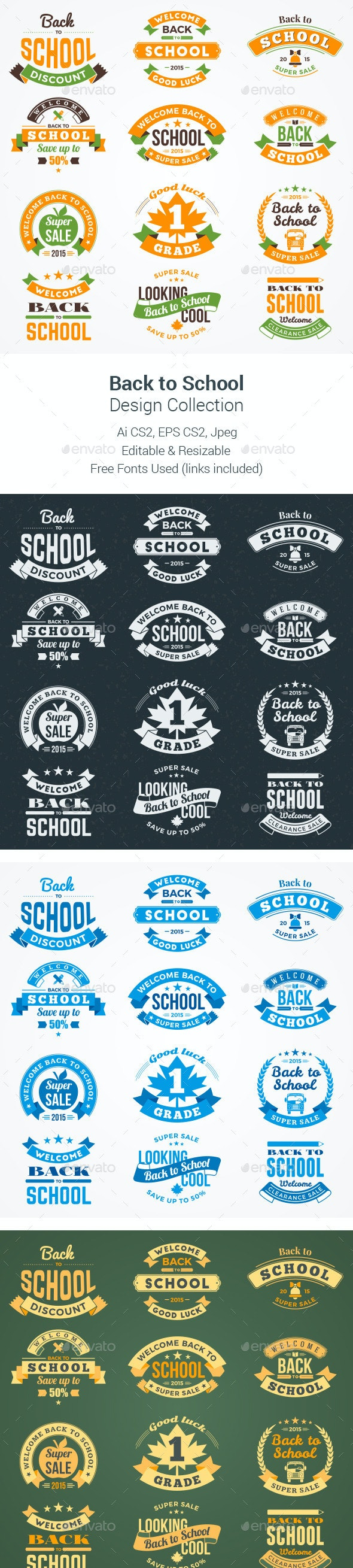 Back to School Design Collection - Badges & Stickers Web Elements