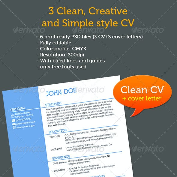 CV+Cover Letters, 3 Different Styles