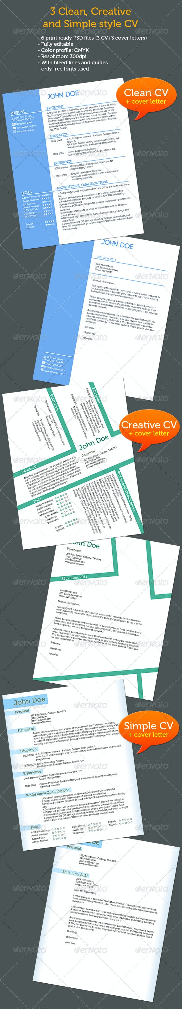 CV+Cover Letters, 3 Different Styles - Resumes Stationery