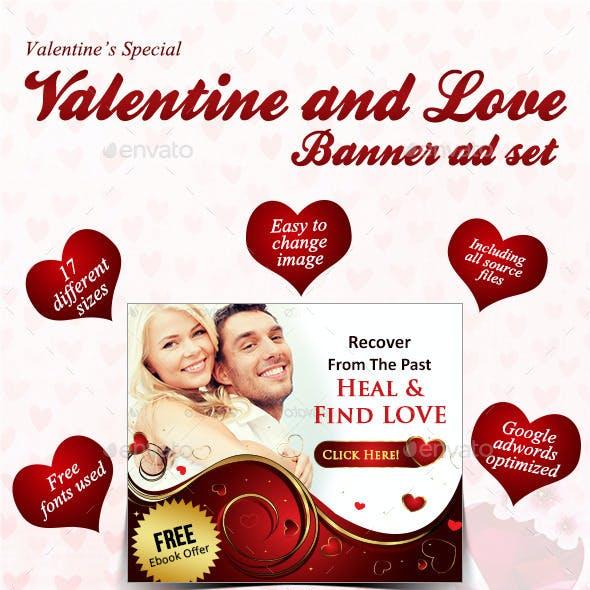 Valentine and Love Banner Set