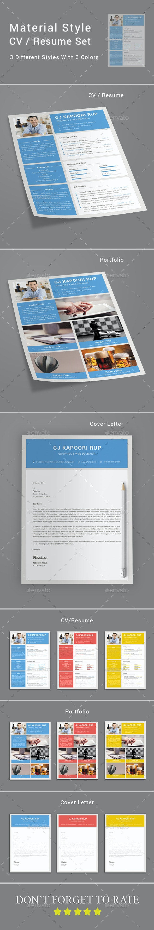 Material Style CV / Resume - Resumes Stationery