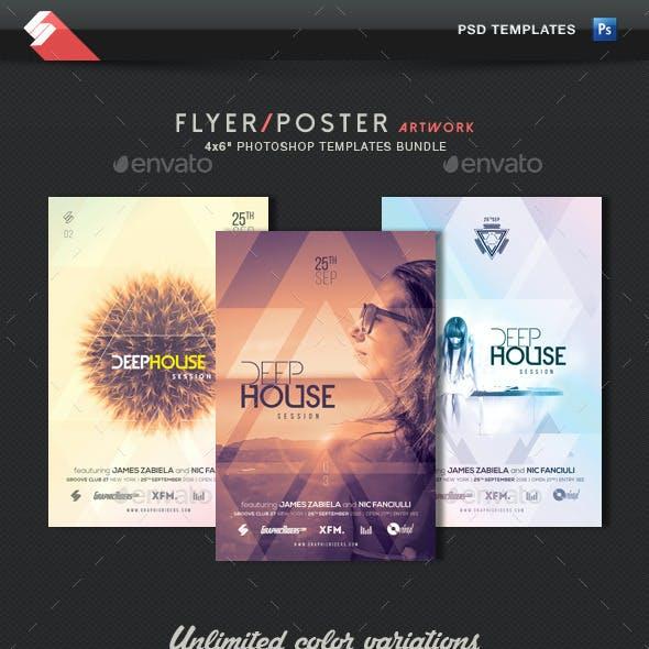Deep House Session - Event Flyer Templates Bundle