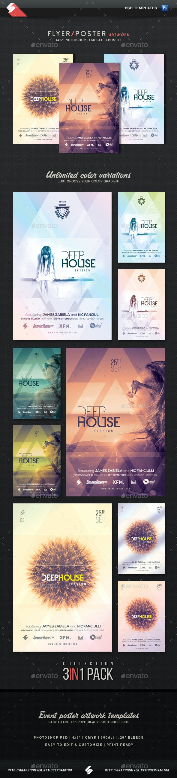 Deep House Session - Event Flyer Templates Bundle - Clubs & Parties Events