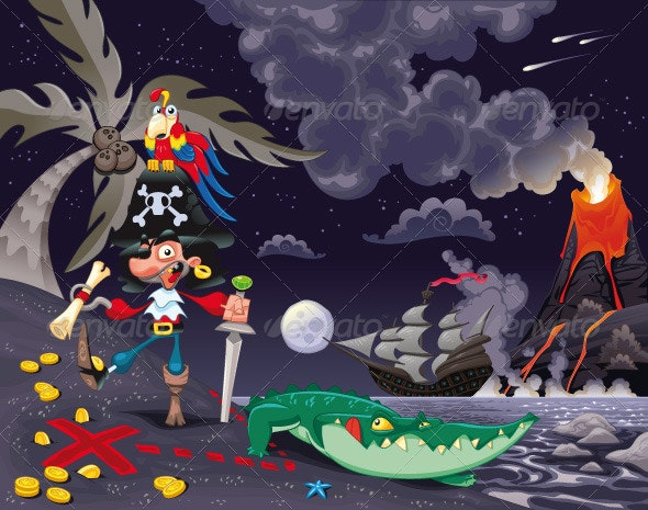 Pirate on the Island in the Night. - Animals Characters