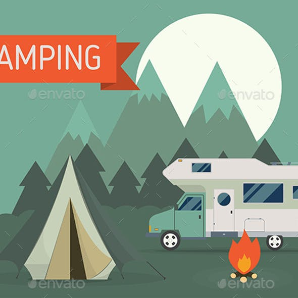 Mountain RV Camping Landscape in Flat Style