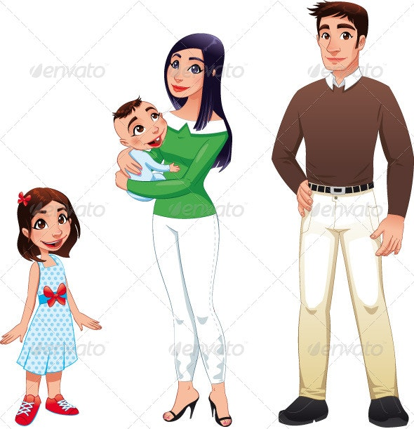 Human Family with Mother, Father and Children. - People Characters