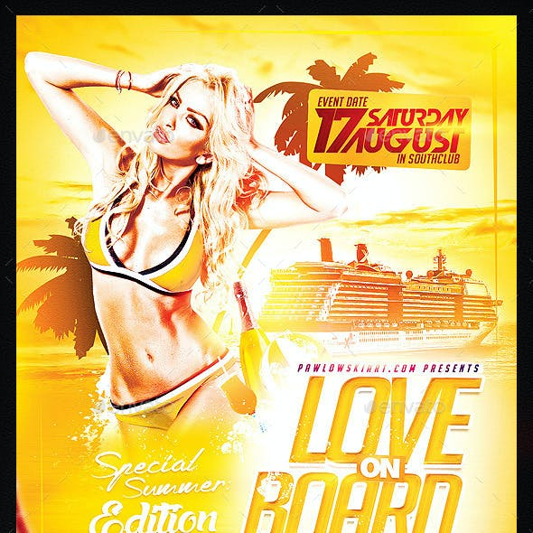 Love on Board Party Flyer Template