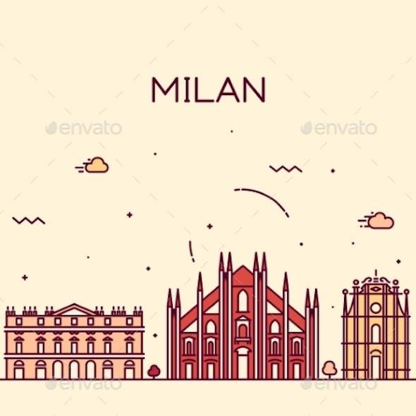 Milan Skyline Trendy Vector Illustration Linear