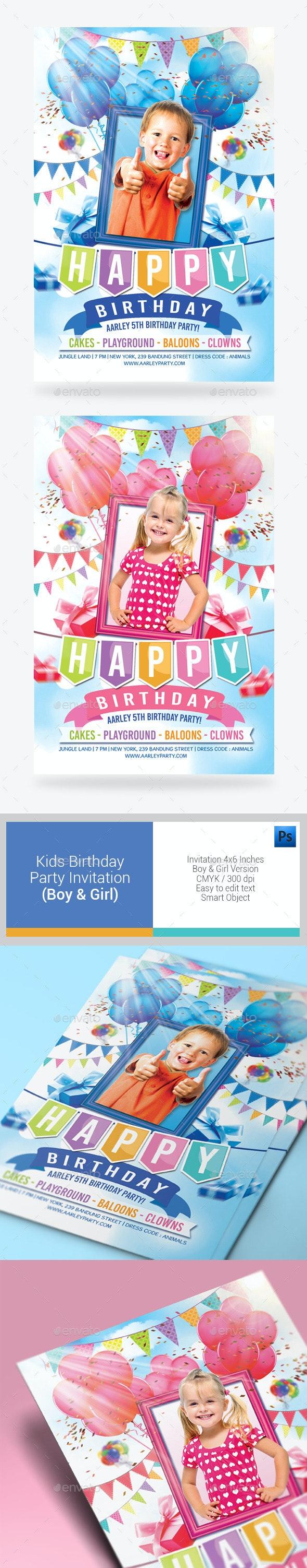 Kids Birthday Party Invitation ( Boy & Girl ) - Birthday Greeting Cards