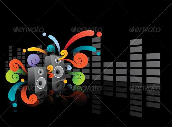 Colorful Speaker Design - Backgrounds Graphics