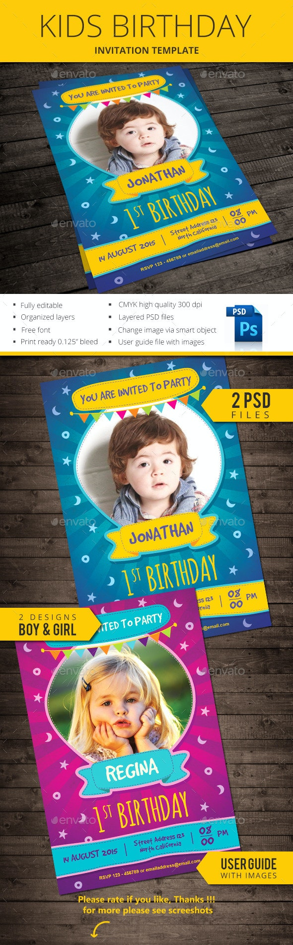 Kids Birthday Invitation - Birthday Greeting Cards