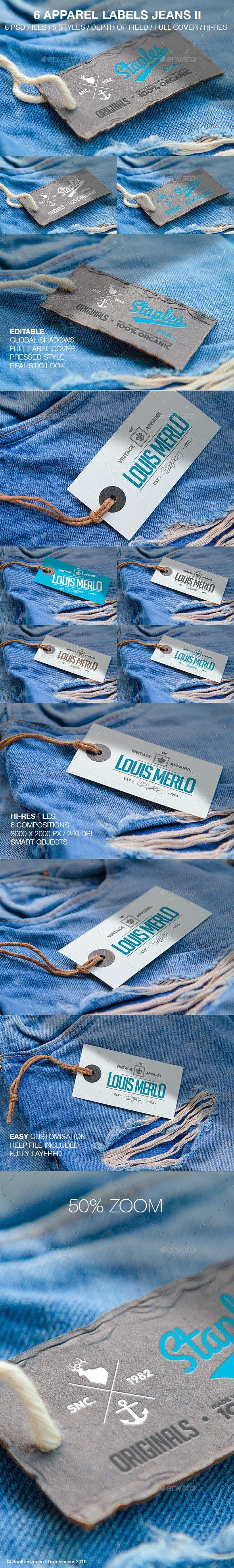 6 Apparel Labels Jeans II - Logo Product Mock-Ups