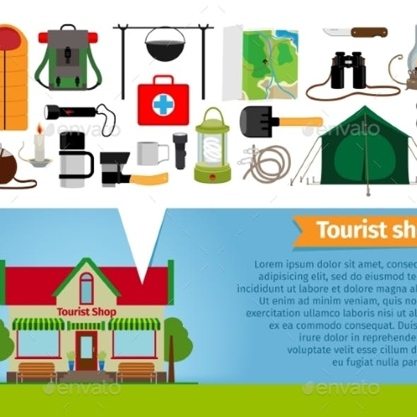 Tourist Shop. Tourism Equipment Tools For Hiking