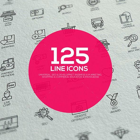 Set of modern flat Line designed icons