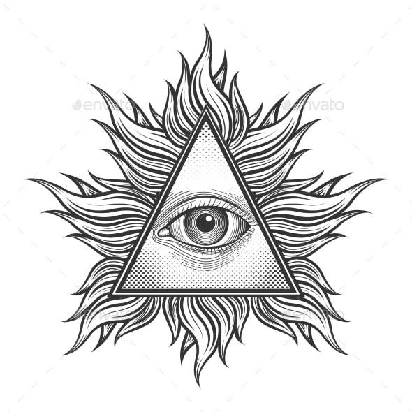 All Seeing Eye Pyramid Symbol In The Engraving