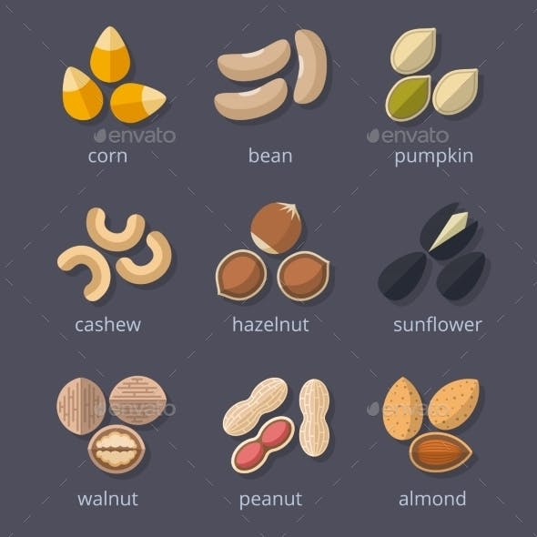 Nuts And Seeds Icon Set