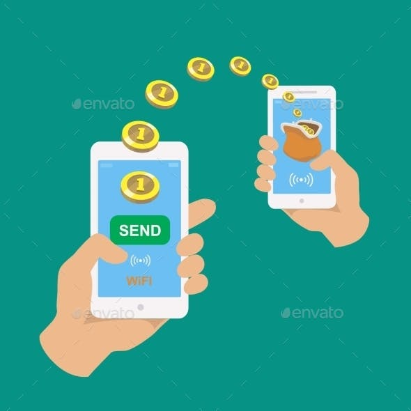 Hands Holding Smartphones.  Banking Payment Apps