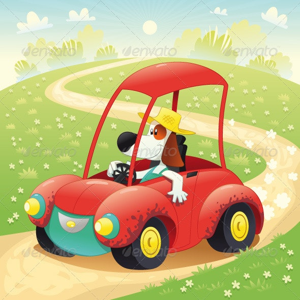 Funny Dog in a Car - Animals Characters