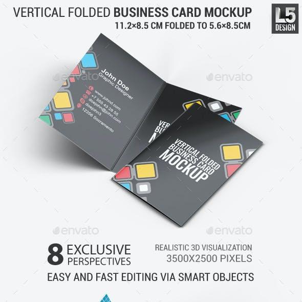 Vertical Folded Business Card Mock-Up