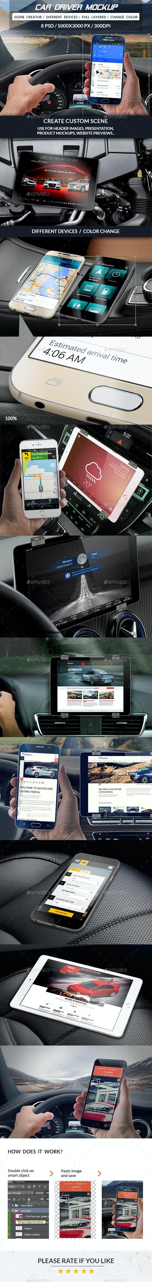 Car Driver Mockup - Mobile Displays