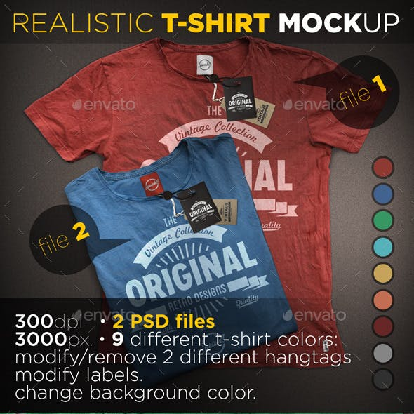 T-Shirt Mockup with Realistic Hangtag
