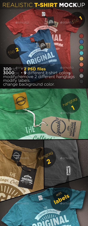 T-Shirt Mockup with Realistic Hangtag - T-shirts Apparel