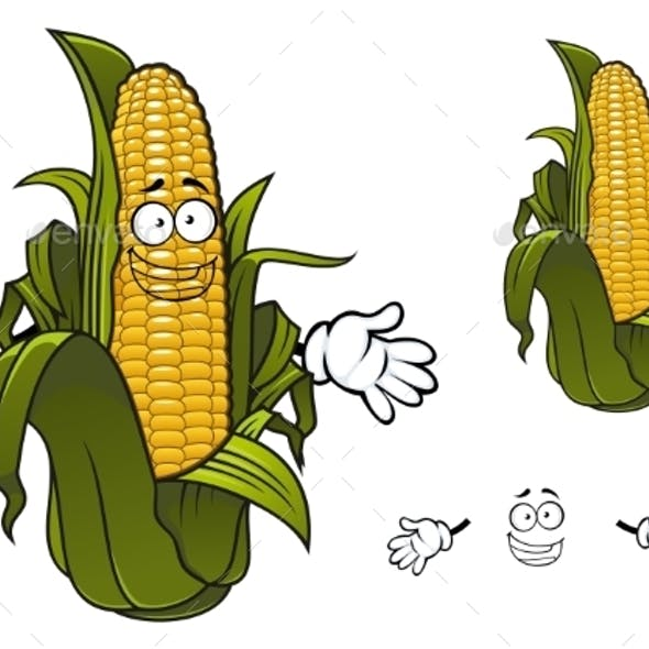 Cartoon Sweet Corn Or Maize Vegetable