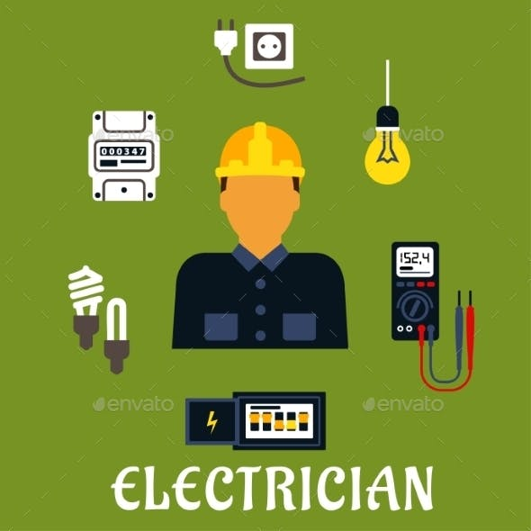 Electrician With Devices And Tools
