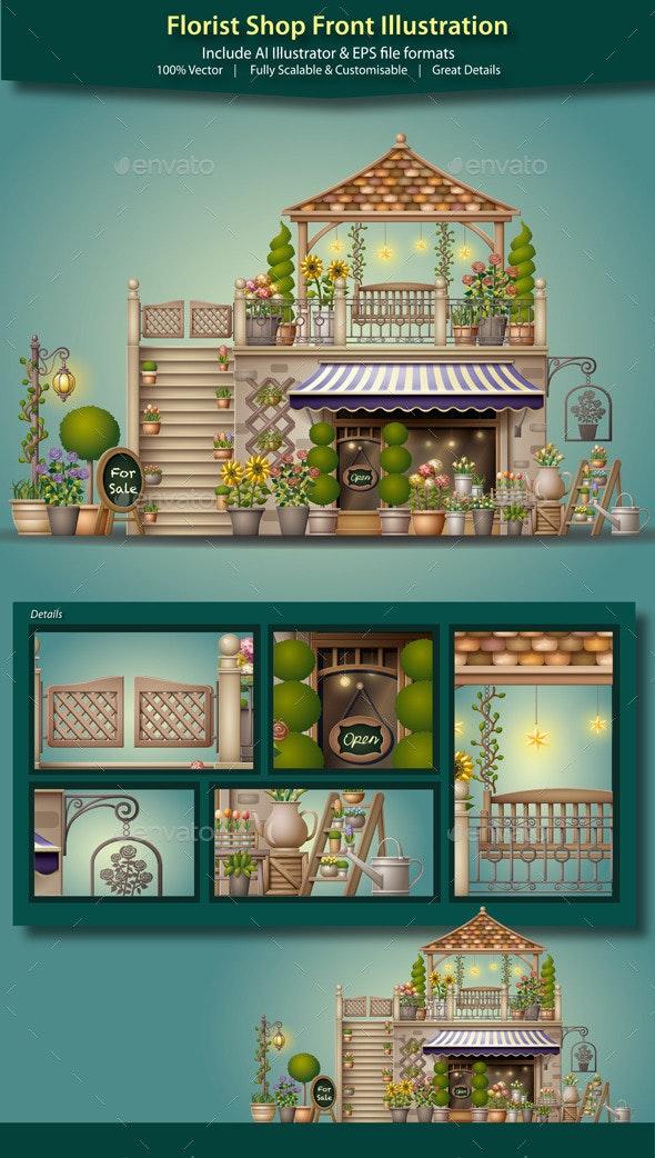 Florist Shop Front Illustration - Buildings Objects