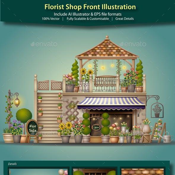 Florist Shop Front Illustration