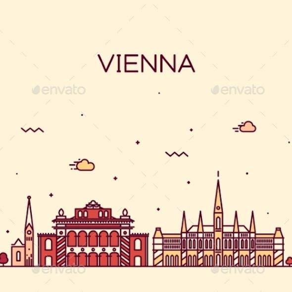 Vienna Skyline Trendy Vector Illustration Linear
