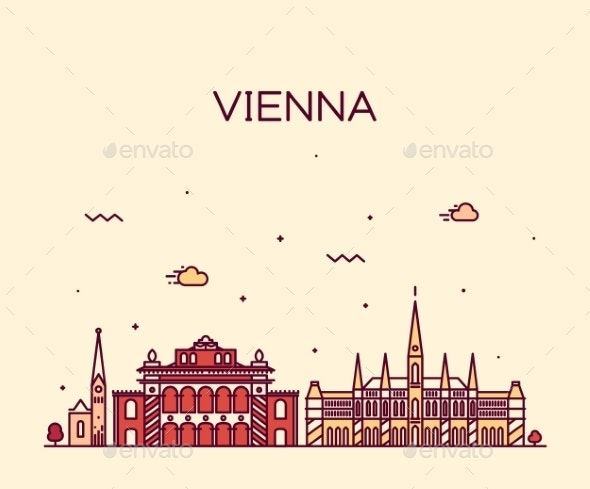 Vienna Skyline Trendy Vector Illustration Linear - Travel Conceptual